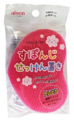 295727 AISEN Губка мыльница для чистки раковин с подставкой (розовая)