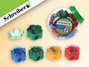 Точилка пластиковая ЦВЕТОЧЕК, 4 цвета, 28х21 мм, в банке 52 шт.