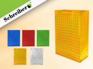Пакет подарочный бум. голограф., 45х32х13 см, цвета золотой, серебристый, красный, синий, зеленый