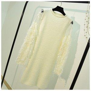 Платье-свитер с длинным рукавом Цвет: БЕЛЫЙ