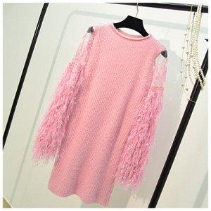 Платье-свитер с длинным рукавом Цвет: РОЗОВЫЙ