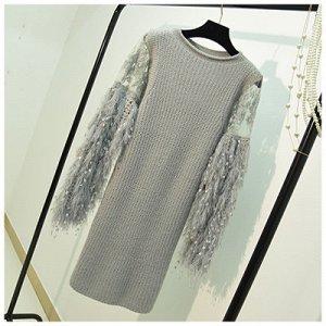 Платье-свитер с длинным рукавом Цвет: СЕРЫЙ