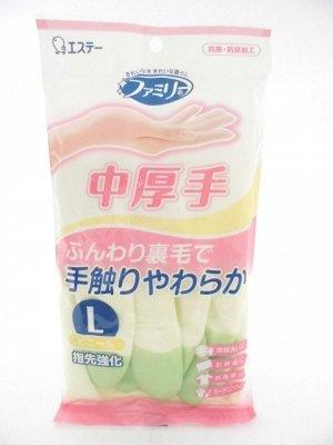 """Виниловые перчатки """"Family"""" (средней толщины, с внутренним покрытием) зеленые  РАЗМЕР L, 1пара"""