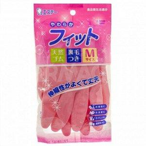 """743223 """"ST"""" """"Family"""" Перчатки из каучука, сред толщины с внутр. покрытием, размер М (розовые), 1/120"""