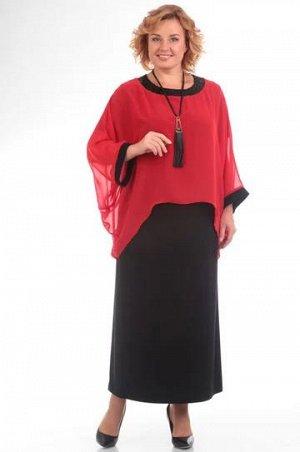 Платье Платье Pretty 571 красное/черное  Состав ткани: ПЭ-96%; Спандекс-4%;  Рост: 164 см.  Полуприлегающее платье из легкого трикотажа расширено по низу. В округлой горловине платье скреплено с прос