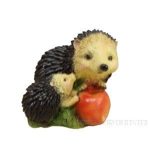 """Фигура декоративная садовая """"Ежик с яблоками"""", L14.5W18H14 см"""
