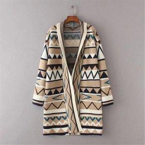 Вязаный кардиган-пальто без застежек Цвет: ХАКИ