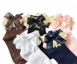Носки с кружевом и бантиком
