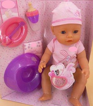 кукла Размер куклы 43 см.  Куклу можно кормить, купать, ходить на горшочек.  Коробка (упаковка) с повреждением. Цена в магазине 5980 р