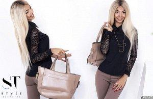 Блуза женская с гипюровыми рукавами