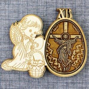 """Магнит из бересты яйцо ангел ХВ""""Иисус на распятии"""""""