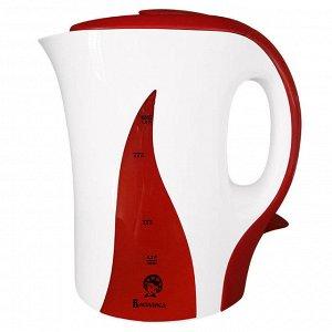 Чайник электрический  ВАСИЛИСА Т14-1100  (12) пласт. белый с красным: 1100 Вт, 1,0 л