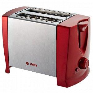 Тостер DELTA  DL-073 700Вт, 2ломтика, 7-ми позиц-ый таймер, красный, нерж(12)