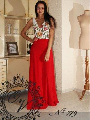 Платье Длинное платье красного цвета, макси, принт-цветы  Материал: трикотаж масло поливискоза