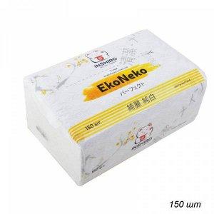 """Салфетки в мягкой упаковке  """"INSHIRO"""" EkoNeko   2-х. сл. белые  (150 шт.) 1/6/120  EN429"""
