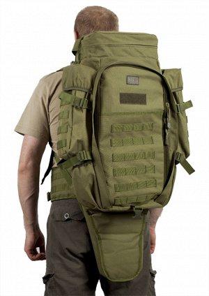 Оружейный военный рюкзак (65 литров, олива) - Плечевые лямки и поясничный ремень выполнены мягкими и снабжены сеткой типа Air Mesh для улучшения микроциркуляции воздуха и обеспечения комфортного ношен