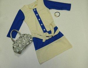 Платье с синими рукавами Артикул: П-20