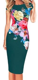 Платье-миди с короткими рукавами и цветочным принтом Цвет: ЗЕЛЕНЫЙ