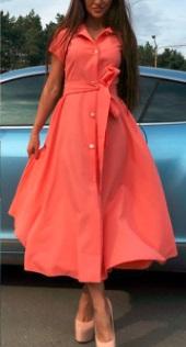 Длинное платье на пуговицах с короткими рукавами Цвет: ОРАНЖЕВЫЙ