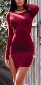 Мини-платье с разрезом и длинными рукавами Цвет: БОРДО