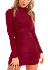 Мини-платье под горло с длинными рукавами Цвет: БОРДО