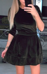 Бархатное платье с расклешенной юбкой и рукавами средней длины Цвет: КОРИЧНЕВЫЙ