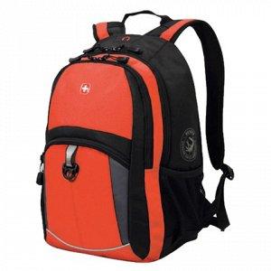 Рюкзак WENGER, универсальный, оранжево-черный, серые вставки, 22 л, 33х15х45 см, 3191207408