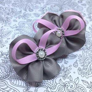 Детский бантик Акварель 2.0 серый с розовой лентой