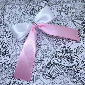 Школьный бант Лицей розовый с белым