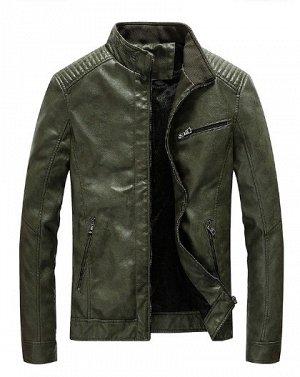 Куртка из эко кожи, темно зелёного цвета.