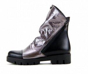Ботинки кожа никель/черный демисезон
