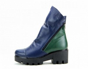 Ботинки кожа синий/зеленый демисезон