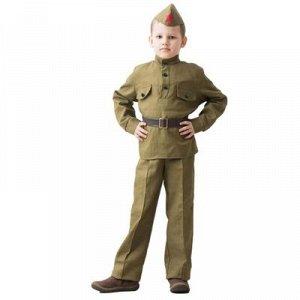 Костюм военного, гимнастерка, ремень, пилотка, брюки 8-10 лет рост 140-152