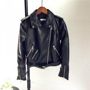 Куртка-косуха с молниями на рукавах Цвет: ЧЕРНЫЙ