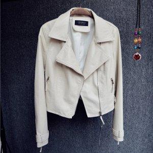Короткая куртка-косуха Цвет: БЕЖЕВЫЙ