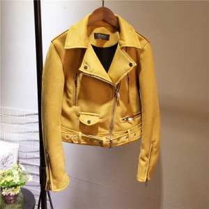 Замшевая куртка-косуха Цвет: ЖЕЛТЫЙ