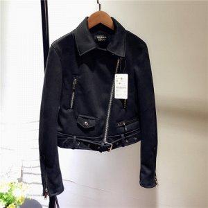 Замшевая куртка-косуха Цвет: ЧЕРНЫЙ