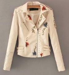 Куртка с вышивкой укороченная Цвет: БЕЖЕВЫЙ