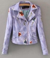 Куртка с вышивкой укороченная Цвет: ФИОЛЕТОВЫЙ