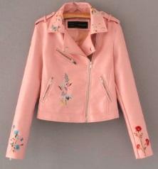 Куртка с вышивкой укороченная Цвет: РОЗОВЫЙ