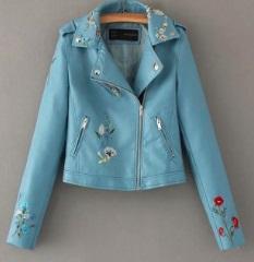 Куртка с вышивкой укороченная Цвет: СИНИЙ