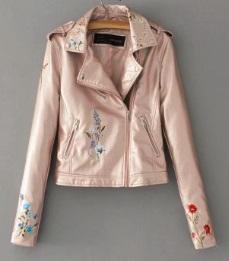 Куртка с вышивкой укороченная Цвет: РОЗОВЫЙ (БЛЕСТЯЩИЙ)