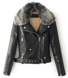 Теплая куртка-косуха с меховым воротником Цвет: ЧЕРНЫЙ