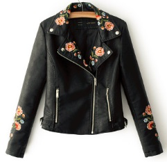 Куртка с вышивкой укороченная Цвет: ЧЕРНЫЙ