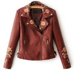 Куртка с вышивкой укороченная Цвет: БОРДО