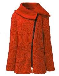 Пальто-косуха с широким отложным воротником Цвет: ОРАНЖЕВЫЙ