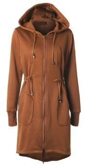 Длинная куртка с капюшоном и регулируемой талией Цвет: ХАКИ
