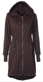Длинная куртка с капюшоном и регулируемой талией Цвет: КОФЕ