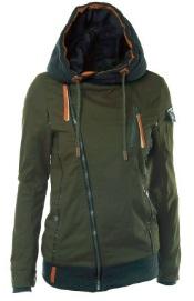 Куртка-косуха с капюшоном утепленная Цвет: ЗЕЛЕНЫЙ
