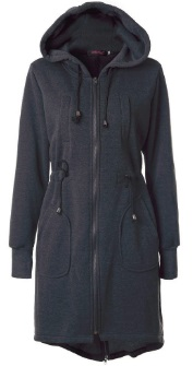Длинная куртка с капюшоном и регулируемой талией Цвет: ТЕМНО-СЕРЫЙ